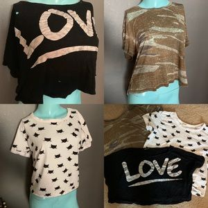 Crop Top Lot! Camo, Love and Kitty Crop Top Lot